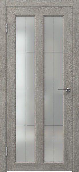 Межкомнатная дверь FK007 (экошпон «дымчатый дуб» / стекло решетка полимер)