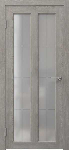 Межкомнатная дверь FK007 (экошпон «дымчатый дуб» / стекло решетка)