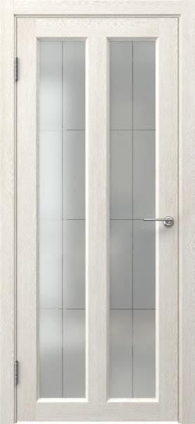 Межкомнатная дверь FK007 (экошпон «белый дуб» / стекло решетка полимер)