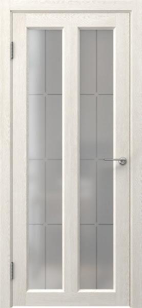 Межкомнатная дверь FK007 (экошпон «белый дуб» / стекло решетка)