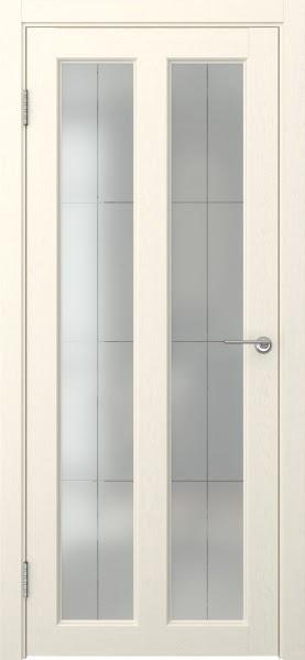 Межкомнатная дверь FK007 (экошпон «ваниль» / стекло решетка полимер)