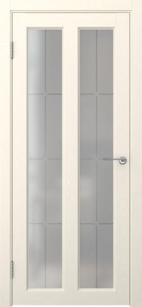 Межкомнатная дверь FK007 (экошпон «ваниль» / стекло решетка)
