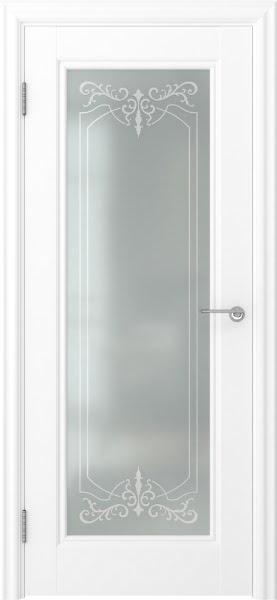 Межкомнатная дверь FK008 (экошпон белый / матовое стекло)