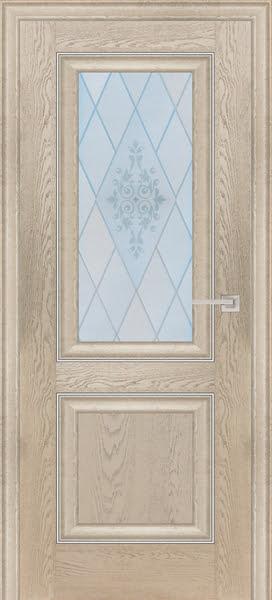 Межкомнатная дверь FK009 (экошпон «дуб английский кремовый» / матовое стекло)