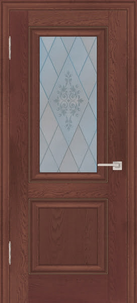 Межкомнатная дверь FK009 (экошпон «дуб английский темный» / матовое стекло)