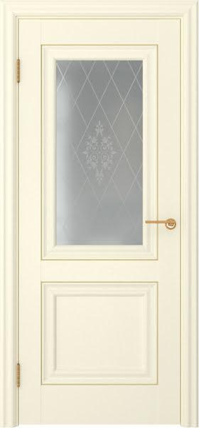 Межкомнатная дверь FK009 (экошпон «ваниль» / матовое стекло)