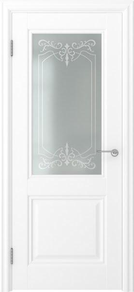 Межкомнатная дверь FK010 (экошпон белый / матовое стекло)