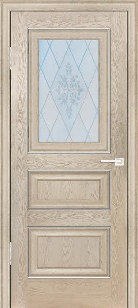 Межкомнатная дверь FK011 (экошпон «дуб английский кремовый» / матовое стекло)