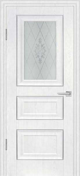 Межкомнатная дверь FK011 (экошпон «ясень белый» / матовое стекло)