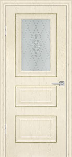 Межкомнатная дверь FK011 (экошпон «ваниль» / матовое стекло)