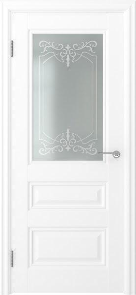 Межкомнатная дверь FK012 (экошпон белый / матовое стекло)