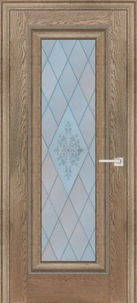Межкомнатная дверь FK013 (экошпон «дуб английский бежевый» / матовое стекло)