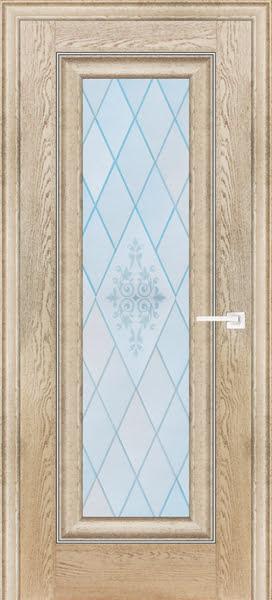 Межкомнатная дверь FK013 (экошпон «дуб английский кремовый» / матовое стекло)