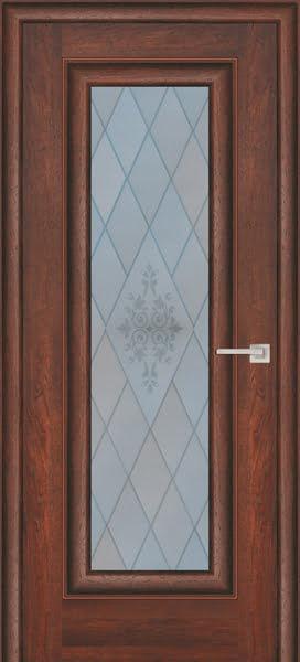 Межкомнатная дверь FK013 (экошпон «дуб английский темный» / матовое стекло)