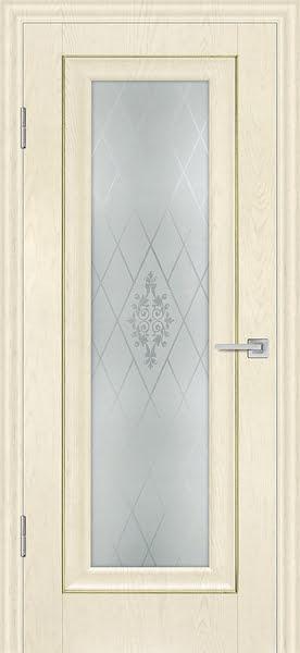 Межкомнатная дверь FK013 (экошпон «ваниль» / матовое стекло)