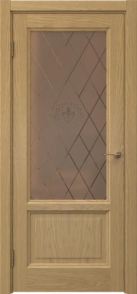 Межкомнатная дверь FK014 (натуральный шпон дуба / стекло бронзовое с гравировкой)