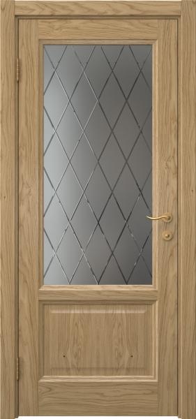 Межкомнатная дверь FK014 (натуральный шпон дуба / стекло с гравировкой)