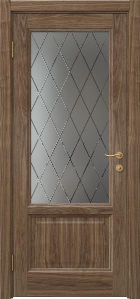 Межкомнатная дверь FK014 (шпон американский орех / стекло с гравировкой)