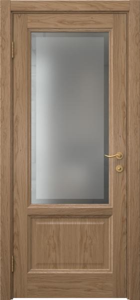 Межкомнатная дверь FK014 (шпон дуб светлый / стекло рамка)