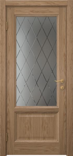 Межкомнатная дверь FK014 (шпон дуб светлый / стекло с гравировкой)