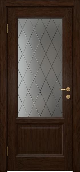 Межкомнатная дверь FK014 (шпон дуб коньяк / стекло с гравировкой)