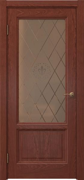 Межкомнатная дверь FK014 (шпон красное дерево / стекло бронзовое с гравировкой)
