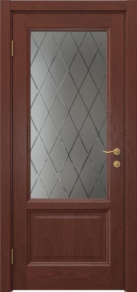 Межкомнатная дверь FK014 (шпон красное дерево / стекло с гравировкой)
