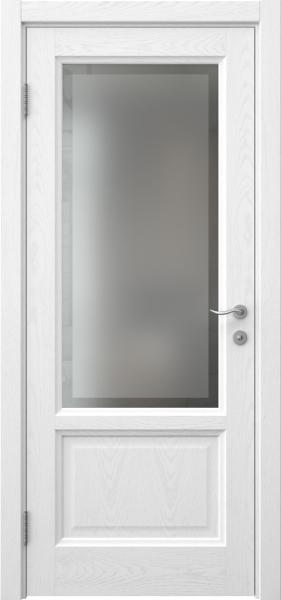 Межкомнатная дверь FK014 (шпон ясень белый / стекло рамка)