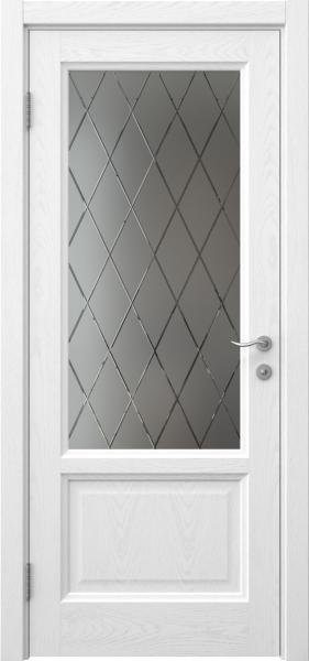 Межкомнатная дверь FK014 (шпон ясень белый / стекло с гравировкой)
