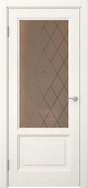 Межкомнатная дверь FK014 (шпон ясень слоновая кость / стекло бронзовое с гравировкой)