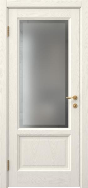 Межкомнатная дверь FK014 (шпон ясень слоновая кость / стекло рамка)