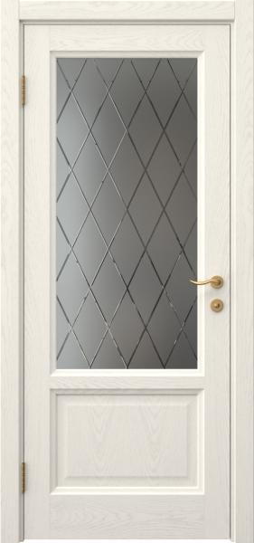 Межкомнатная дверь FK014 (шпон ясень слоновая кость / стекло с гравировкой)