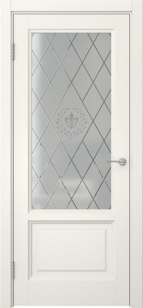 Межкомнатная дверь FK014 (эмаль слоновая кость / стекло с гравировкой)