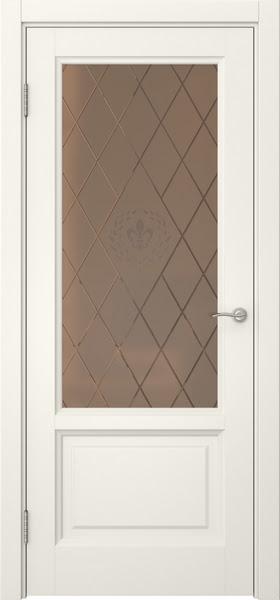 Межкомнатная дверь FK014 (эмаль слоновая кость / стекло бронзовое с гравировкой)