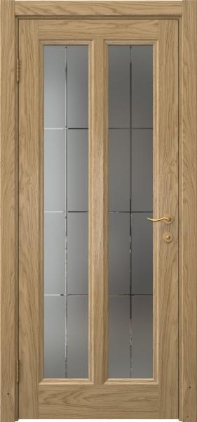 Межкомнатная дверь FK015 (натуральный шпон дуба / стекло решетка)