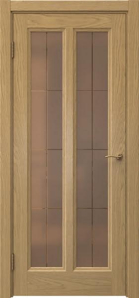 Межкомнатная дверь FK015 (натуральный шпон дуба / стекло бронзовое решетка)
