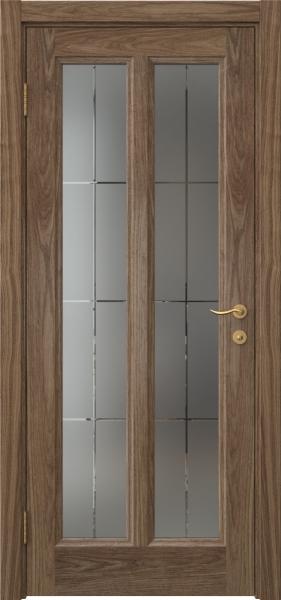 Межкомнатная дверь FK015 (шпон американский орех / стекло решетка)