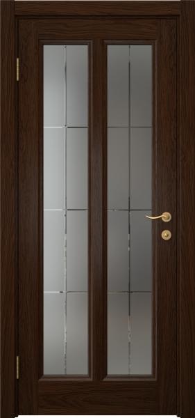 Межкомнатная дверь FK015 (шпон дуб коньяк / стекло решетка)