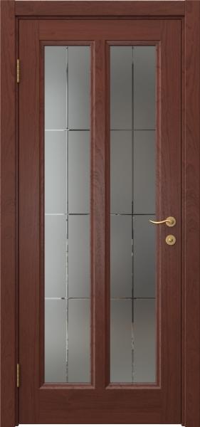Межкомнатная дверь FK015 (шпон красное дерево / стекло решетка)