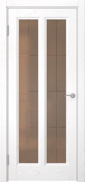 Межкомнатная дверь FK015 (шпон ясень белый / стекло бронзовое решетка)