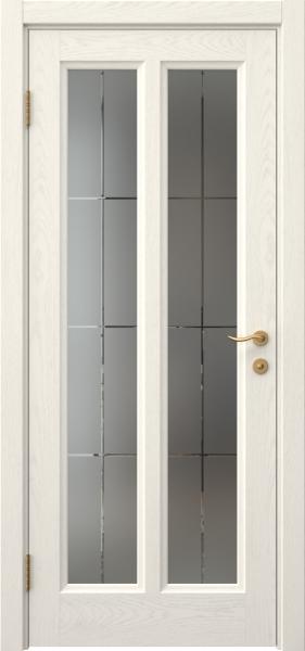 Межкомнатная дверь FK015 (шпон ясень слоновая кость / стекло решетка)