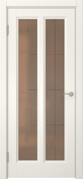 Межкомнатная дверь FK015 (эмаль слоновая кость / стекло бронзовое решетка)