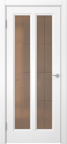 Межкомнатная дверь FK015 (белая эмаль / стекло бронзовое решетка)