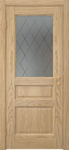 Межкомнатная дверь FK016 (натуральный шпон дуба / стекло с гравировкой)