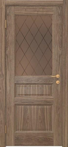 Межкомнатная дверь FK016 (шпон американский орех / стекло рамка)
