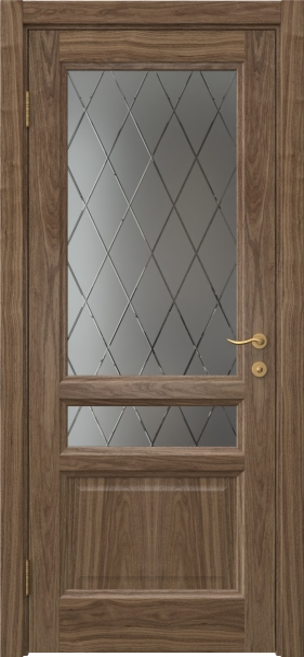 Межкомнатная дверь FK016 (шпон американский орех / стекло с гравировкой)