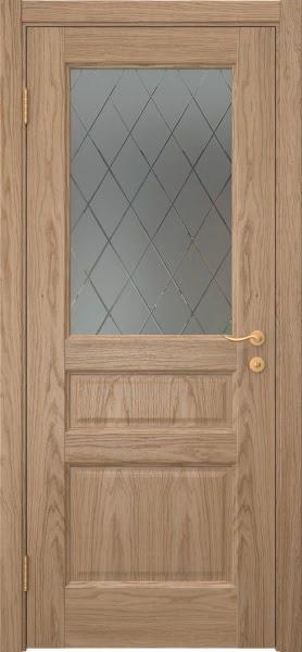 Межкомнатная дверь FK016 (шпон дуб светлый / стекло с гравировкой)