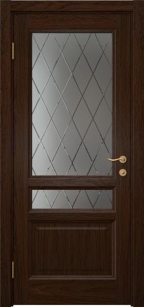 Межкомнатная дверь FK016 (шпон дуб коньяк / стекло с гравировкой)