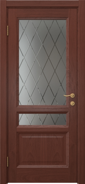 Межкомнатная дверь FK016 (шпон красное дерево / стекло с гравировкой)