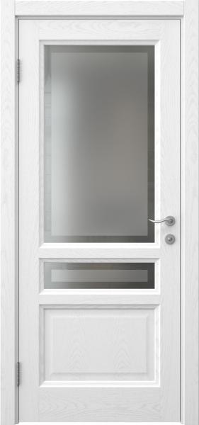 Межкомнатная дверь FK016 (шпон ясень белый / стекло рамка)